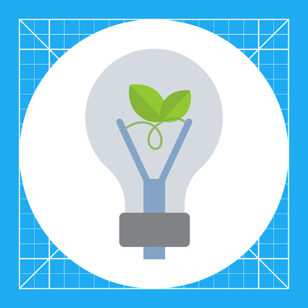 Vector icon of eco-friendly lightbulb with green leaf inside Illustration