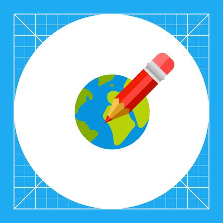 red pencil: Red pencil on background of Earth globe. Internet, international, learning. Distance education concept. Can be used for topics like study, teaching, education.