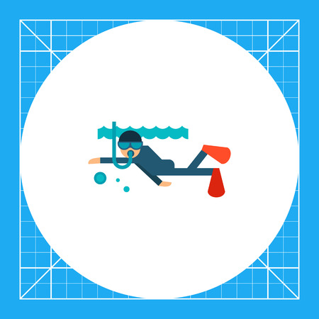 Multicolored vector icon of diver swimming under water Illustration