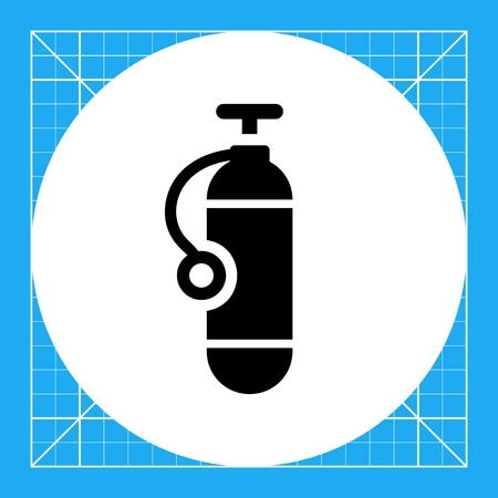 cylinder: Icon of single scuba diving cylinder silhouette Illustration