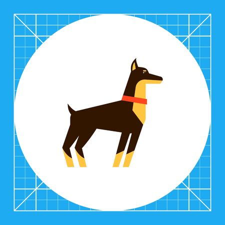 Multicolored vector icon of standing doberman dog