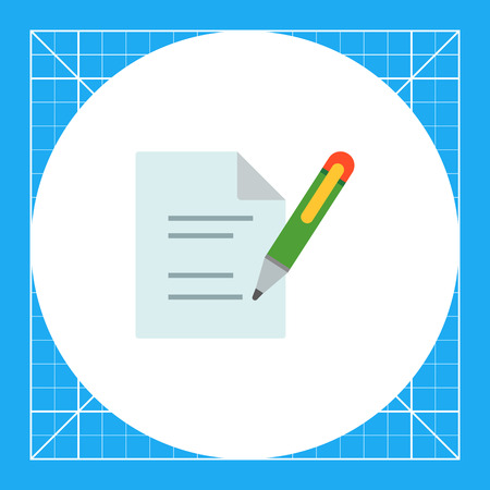 Icon of document and writing pen Illustration