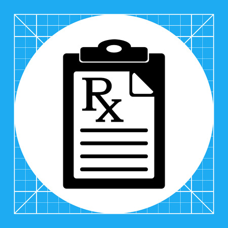 prescribing: Document with medical prescription. Instruction, curing, care. Prescription concept. Can be used for topics like medicine, healthcare, health, pharmacology. Illustration