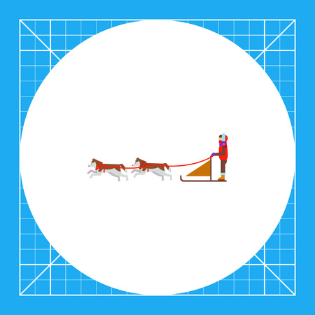 Dogteam and sled with man ruling it. Snow, cold, transportation. Dogteam concept. Can be used for topics like transport, north, domestic animals. Illustration
