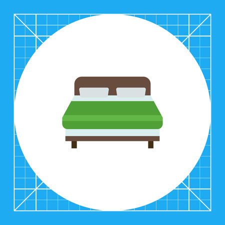 Icon of wooden double bed covered with green blanket 일러스트