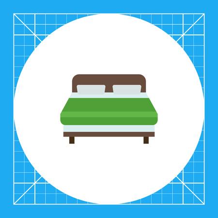insignias: Icono de la cama doble de madera cubierto con una manta verde