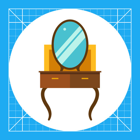 Multicolored vector icon of brown dressing table Illustration