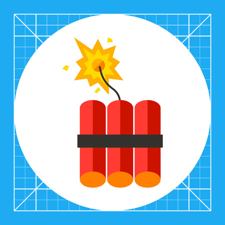 fire wire: Dynamite icon. Multicolored vector illustration of batch of dynamite sticks with burning fuse