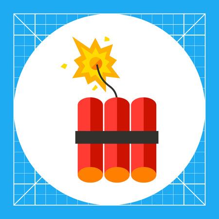 dinamita: icono de la dinamita. ilustración de vectores multicolor del lote de dinamita se pega con mecha encendida Vectores