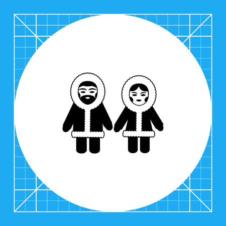 Vector icon of Eskimo man and woman wearing fur coat with hood Illustration