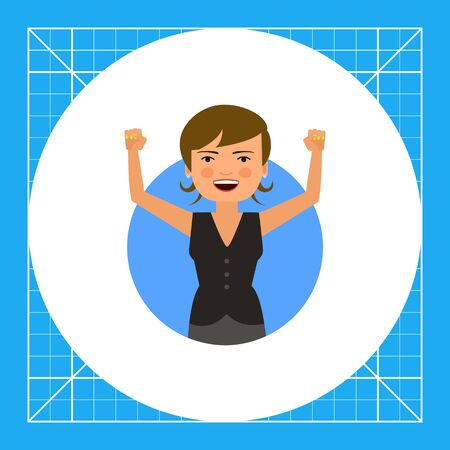 pinafore: Female character, portrait of excited woman with her hands up