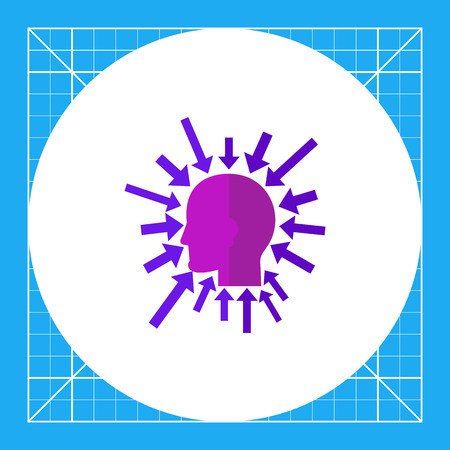 chief executive officer: Head silhouette with arrows pointing to it all around. Tasks, creative, leader. Executive manager concept. Can be used for topics like business, teamwork, management. Illustration