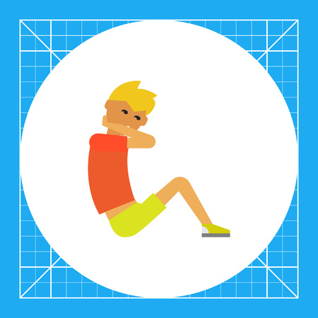 situp: Multicolored vector icon of young man doing sit-ups