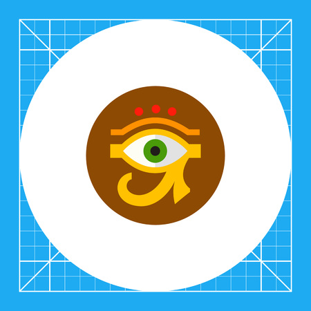 ra: Eye of Ra or Horus with circle in background. Amulet, culture, sacred. Egypt concept. Can be used for topics like Egypt, mythology, history.