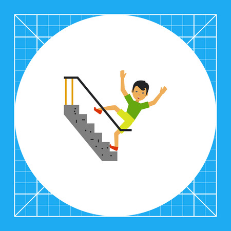 falling man: Illustration of scared man falling down stairs. Accident, injury, casualty. Falling down stairs concept. Can be used for topics like casualty, accident, safety