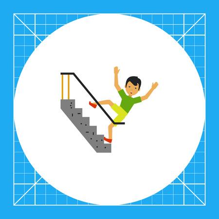 bajando escaleras: Ilustración del hombre asustado caer por las escaleras. Accidentes, lesiones, accidentes. Cayendo concepto escaleras. Puede ser utilizado para temas como accidentes, accidentes, seguridad