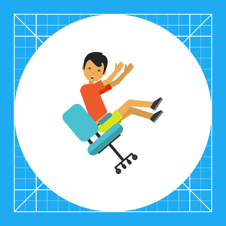 Illustration of man falling from chair. Accident, injury, casualty. Falling from chair concept. Can be used for topics like casualty, accident, safety