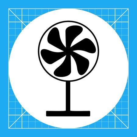 Fan auf dem Stand. Sommer, Hitze, Wind. Fan-Konzept. Kann für Themen wie Haushaltsgeräte, Technologie, Marketing verwendet werden. Vektorgrafik