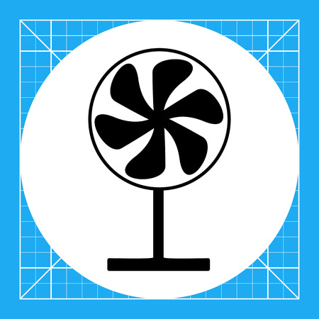 summer heat: Fan on stand. Summer, heat, wind. Fan concept. Can be used for topics like household appliances, technology, marketing.