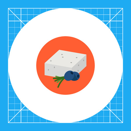 served: Multicolored vector icon of traditional Greek feta cheese served with black olives