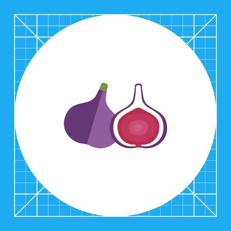 Vector icon of fig and cut fig fruit icon Illustration
