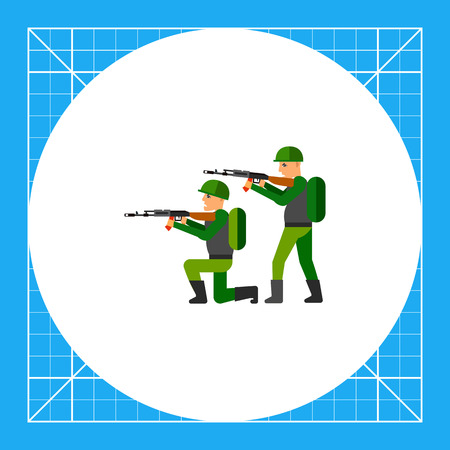 Two military men pointing machine guns. Military equipment, war, threat. Fighting concept. Can be used for topics like war, military equipment, soldiery.