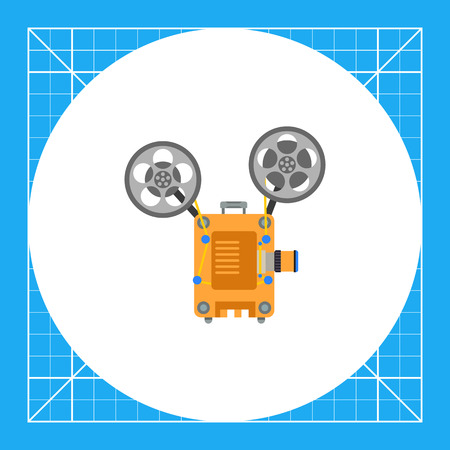 film projector: Illustration of film projector. Cinema, equipment, movie. Cinema concept. Can be used for topics like entertainment, cinema, movie