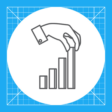 uptrend: Icon of man's hand putting last element of bar chart