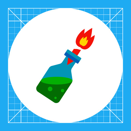 Molotov cocktail with burning wick. Riot, danger, explosion. Fire cocktail concept. Can be used for topics like weapon, violence, terrorism.