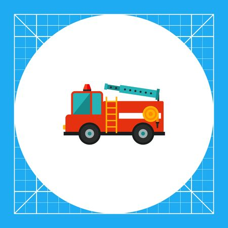 emergency engine: Multicolored vector icon of red fire engine