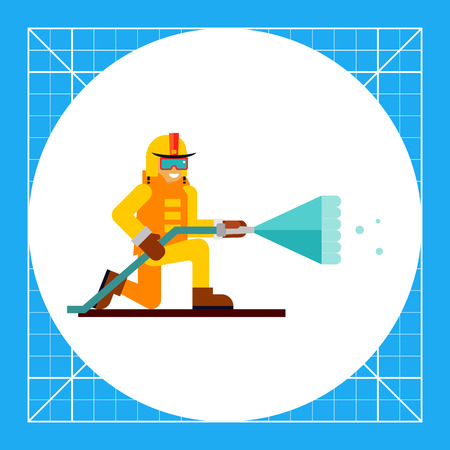 Multicolored vector icon of firefighter extinguishing fire Illustration