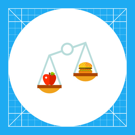 Apple and hamburger on scales. Nutrition, balance, food. Nutrition concept. Can be used for topics like nutrition, diet, food