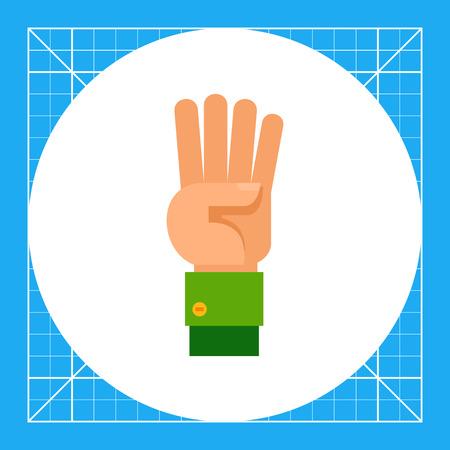 comunicacion no verbal: Ilustración de la mano izquierda con cuatro dedos apuntando hacia arriba. gesto de la mano, número, los dedos. concepto gesto de la mano. Puede ser utilizado para temas como el gesto de la mano, el conteo, la comunicación no verbal