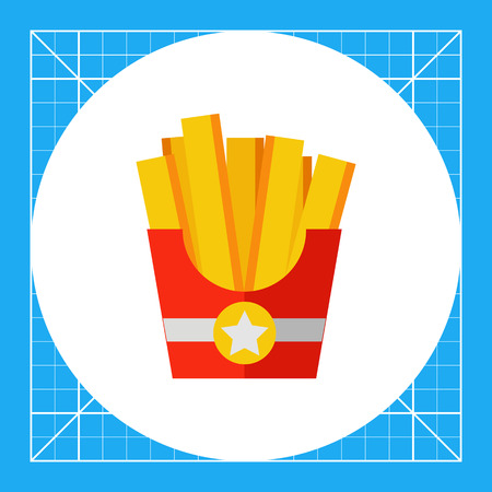 Multicolored vector icon of French fries in red box with star