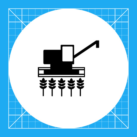 harvester: Combine harvester gathering crop on field. Summer, wheat, machine. Harvesting concept. Can be used for topics like agriculture; nature, agronomy. Illustration