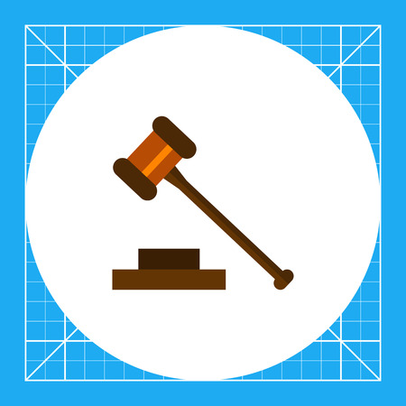 judge gavel: Multicolored vector icon of judge gavel isolated on white