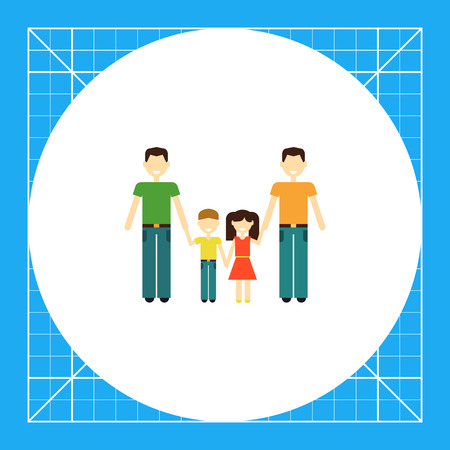 Icon of gay family consisting of two men and two children
