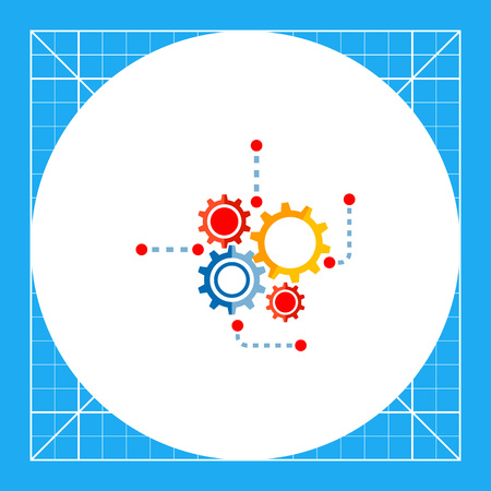 Illustration of gear wheels. Engineering, mechanism, technology, process. Engineering concept. Can be used for topics like engineering, technology, physics