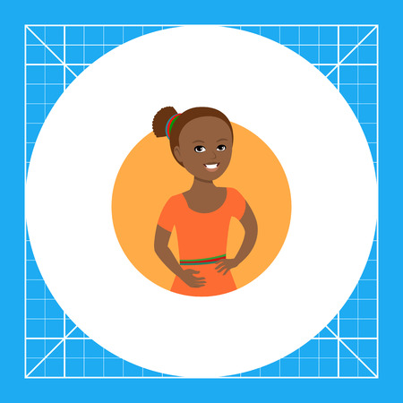 Female character, portrait of smiling African American girl Illustration