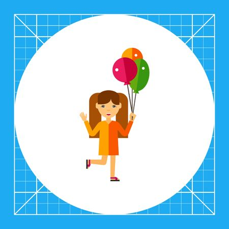 child holding sign: Girl with three balloons. Walk, fun, summer. Children concept. Can be used for topics like childhood, health, parenting.