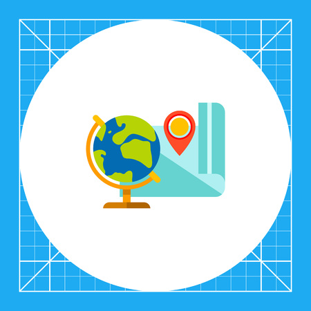 features: Globe and map. Geography, school, map pointer, location. Geography concept. Can be used for topics like geography, education, school, knowledge