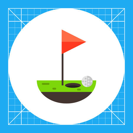 Piece of green golf course with hole, ball and red flag. Leisure, stroke, game. Golf concept. Can be used for topics like sport, health, golf.