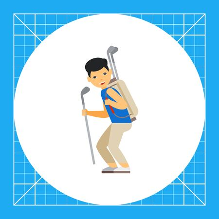 caddie: Golf caddy carrying clubs. Equipment, leisure, help. Golf concept. Can be used for topics like golf, sport, games.