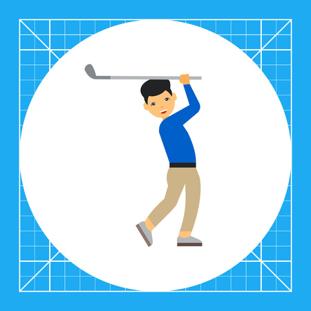 swinging: Golf player swinging. Aiming, leisure, competition. Golf concept. Can be used for topics like golf, sport, games.