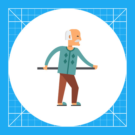 Multicolored vector icon of old man holding handrail
