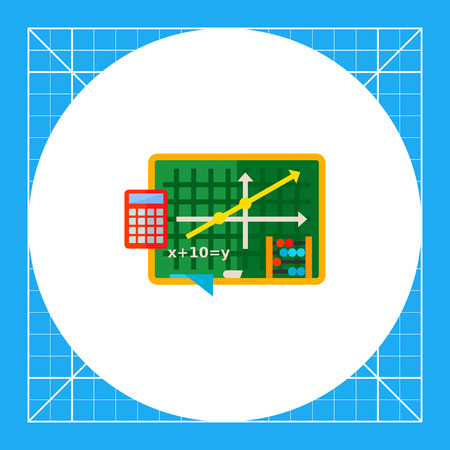 Green blackboard with graph and equation. Algebra, school, calculator, counting frame. Algebra concept. Can be used for topics like school, education, knowledge