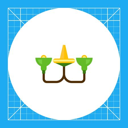 Multicolored vector icon of green chandelier with bulb