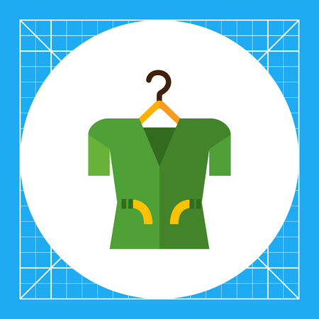 Multicolored vector icon of clothing item on clothes hanger, isolated on white Illustration