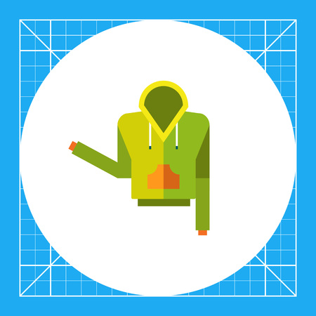 Multicolored vector icon of green hoody with orange pocket Illustration