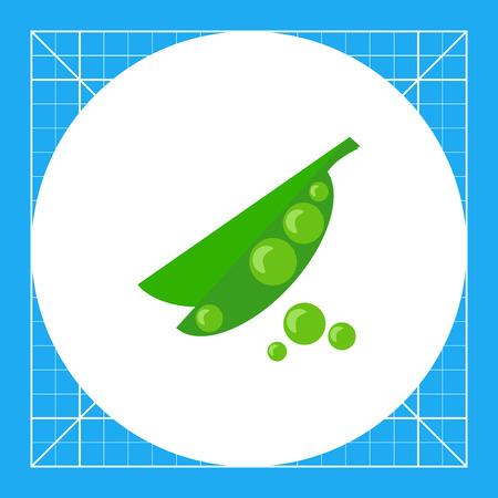 pea pod: Icon of green peas in pea pod
